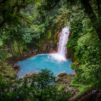 Celestial blue waterfall in volcan tenorio national park costa rica