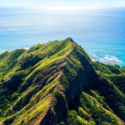 Flying over the Diamond Head, oahu island, Hawaii