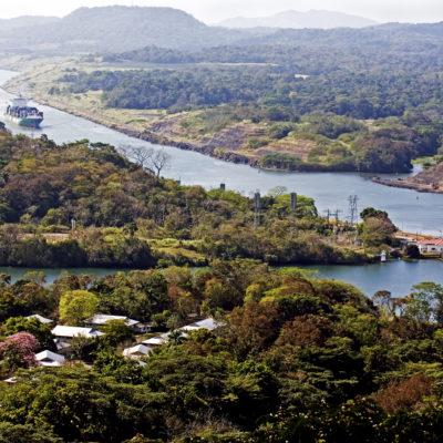 Large ships navigate the Panama canal