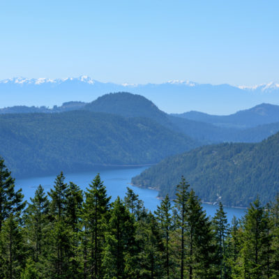 Panoramic view of Malahat lookout north of Victoria, Canada Highway 1
