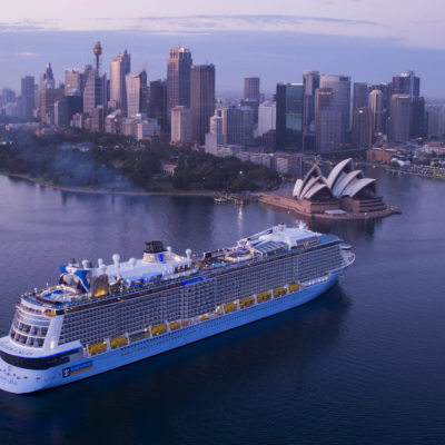 OV, Ovation of the Seas, Sydney, Australia, sunrise, arrival, aerial, drone, Sydney Opera House, city landscape, 9 January 2017